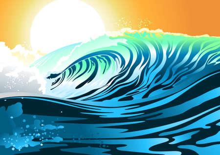 granola: Ola de surf en la salida del sol