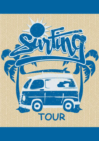 Surfing tour Illustration
