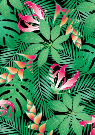 flower patterns: tropische bloemen Stock Illustratie