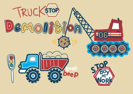 demolition: Truck stop Demolition Boy at work Illustration