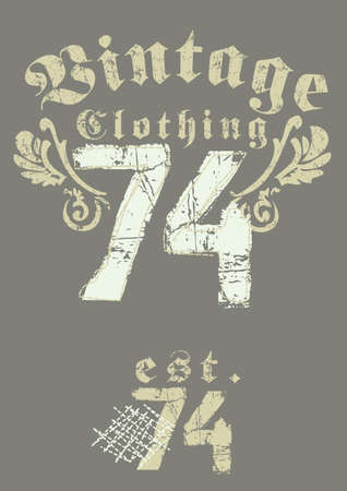 mens: Vintage clothing 74 print Illustration