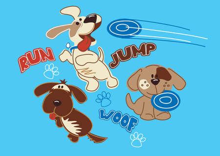 Run jump woof puppy s Иллюстрация