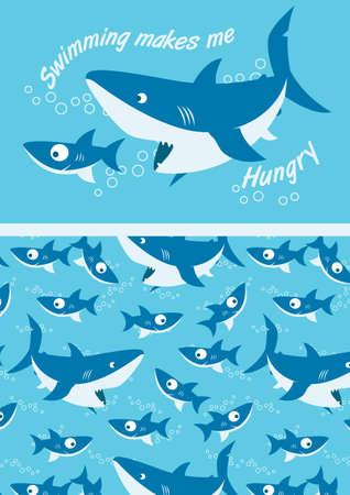 Sharks swimming  Vector