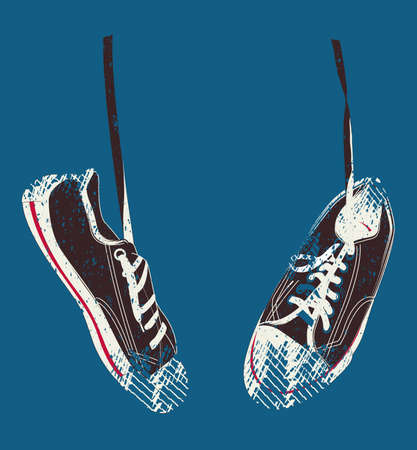 shoe laces: Sneakers hanging from shoe laces  Illustration