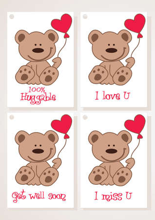 miss you: teddy bear and heart cards