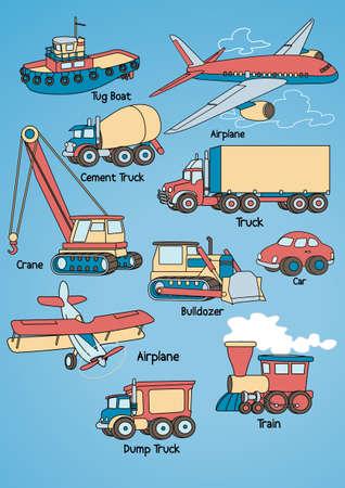 tug boat: Transport Set Illustration