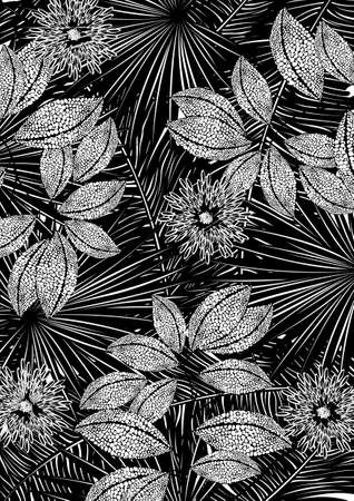 Black and white tropical print  Vector