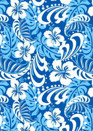surf girl: Tropical blue repeat pattern