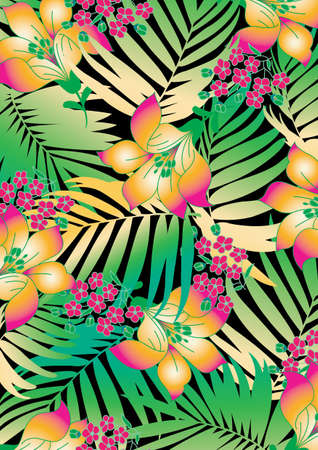 Tropical flowers with palms