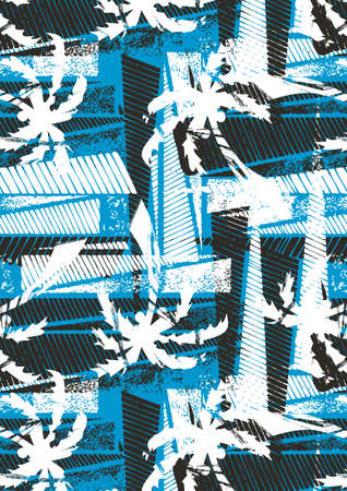 Tropical palm stencil pattern  Illustration