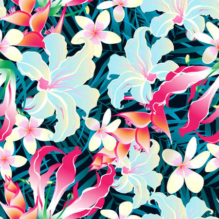 Seamless pattern of tropical leaves and flowers with lots of colors  Иллюстрация