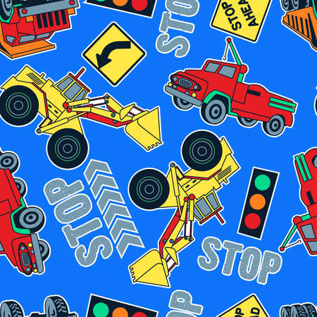 tractor warning sign: Seamless pattern of construction trucks and tractors in a blue background