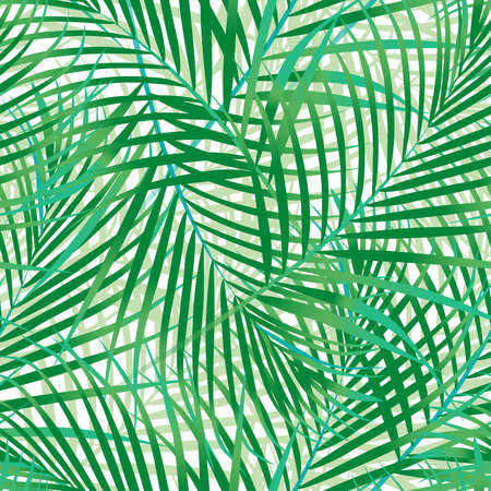 Seamless pattern of green palm leaves. Vector
