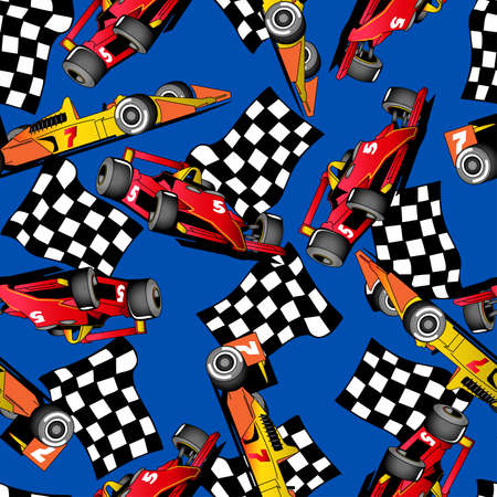 Seamless pattern of some racing cars on a blue background. Иллюстрация