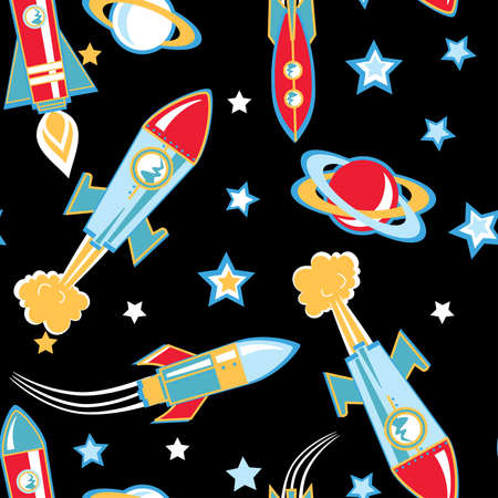 blast off: Rocket ship seamless pattern