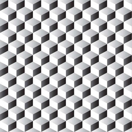Stacked cubes seamless pattern in black and white. Vector