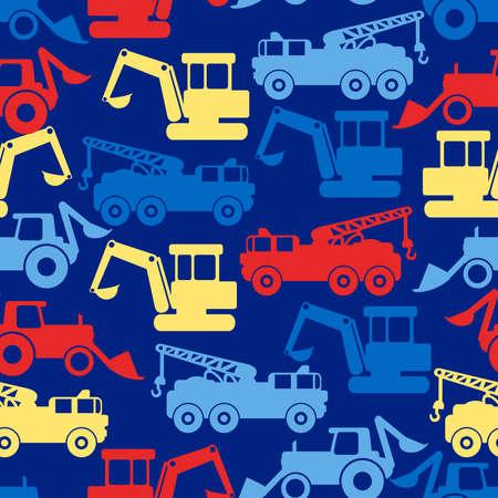 Work trucks seamless pattern on a blue background.