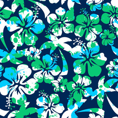 Hibiscus and palm seamless pattern on a navy background. Illustration
