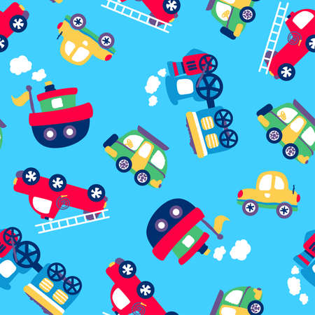 toy car: Little transport seamless pattern on a light blue background. Illustration