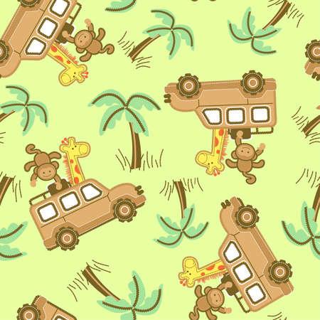 4wd: On safari seamless pattern Illustration