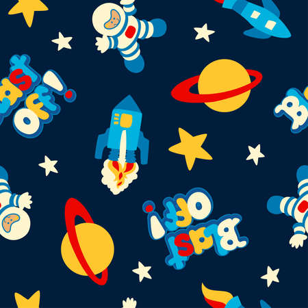blast off: Blast off with rockets and spaceman in a seamless pattern. Illustration