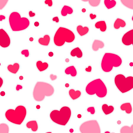 Cute pink and red hearts in a seamless pattern.