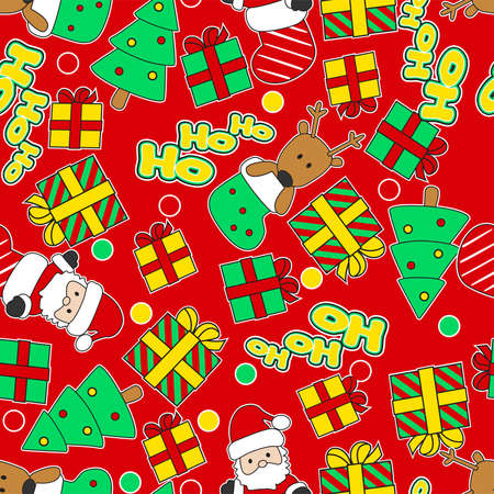 ho: Ho Ho Ho Santa and reindeer. Christmas seamless pattern. Illustration