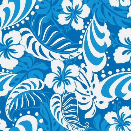 hibiscus flowers: Hibiscus abstract seamless tropical. Illustration
