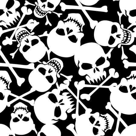 Lots of skulls seamless pattern. Иллюстрация