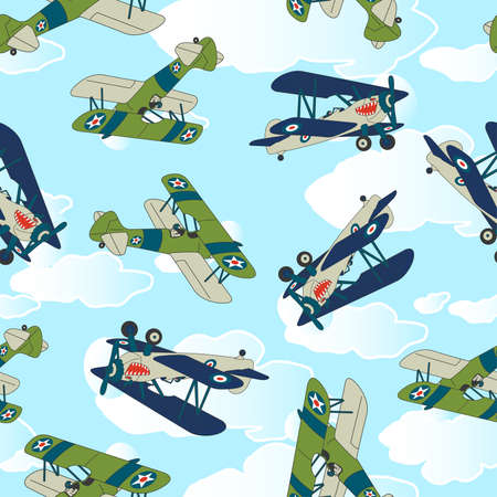 allied: Vintage allied plane flying seamless pattern. Illustration