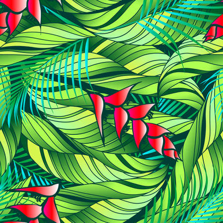 heliconia: Heliconia tropical plant with red flowers seamless pattern. Illustration
