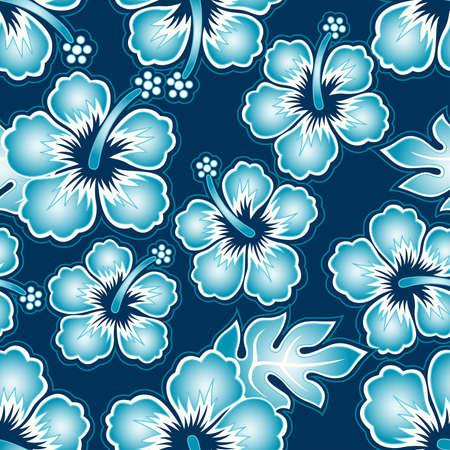 flor: Hibiscus patrón transparente tropical en un fondo azul marino.