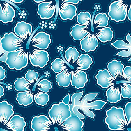 Hibiscus tropical seamless pattern on a navy background.