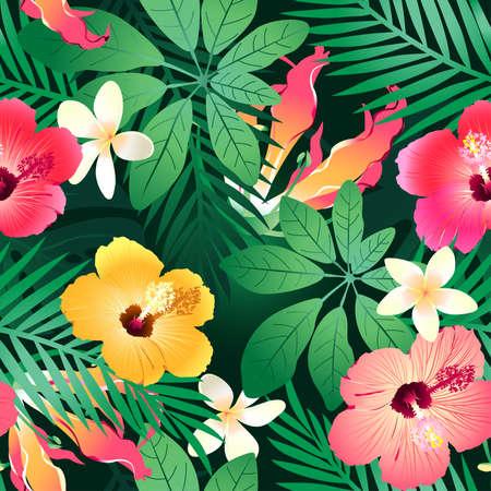 hibisco: Lush flores tropicales sin patrón en un fondo verde.