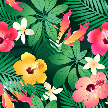 Lush tropical flowers seamless pattern on a green background. Illustration