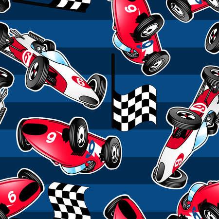 Racing auto's met blauwe strepen in een naadloze patroon. Stock Illustratie
