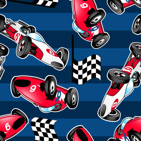 Racing cars with blue stripes in a seamless pattern. Vector