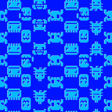 Space Invader graphic seamless pattern on a blue background. Vector