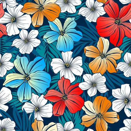 back ground: Bright tropical seamless pattern Illustration