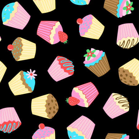 Cup cakes seamless pattern on a black background. Illustration