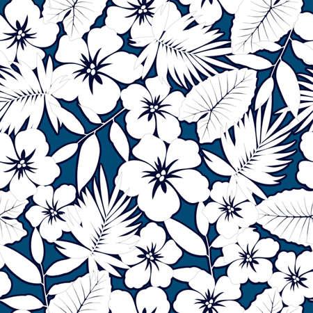 White hawaiian hibiscus seamless pattern. Vector