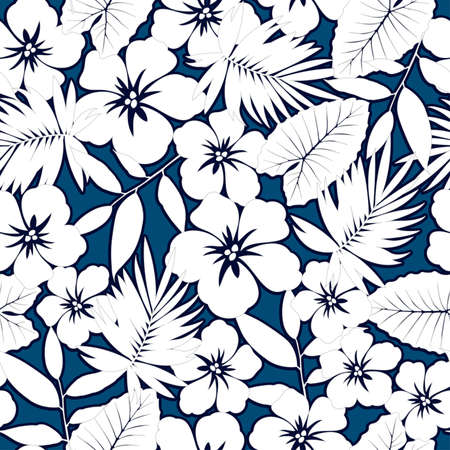 floral flower pattern: White hawaiian hibiscus seamless pattern. Illustration