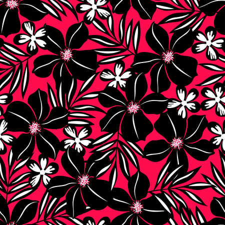 Black tropical flower on red background seamless pattern.