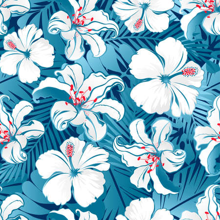 fern: White tropical hibiscus flowers seamless pattern on a blue background. Illustration