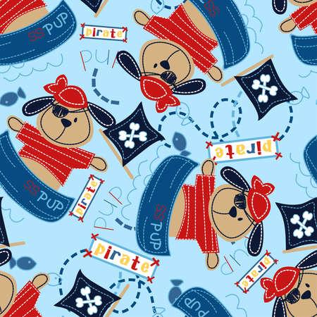 welpe: Piraten-Welpe in seinem Boot nahtlose Muster