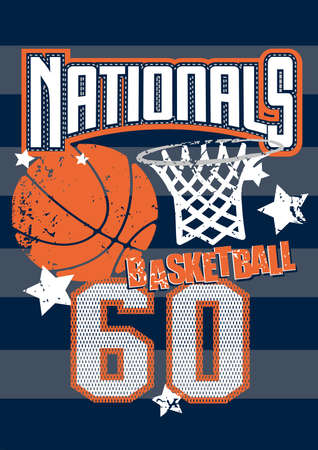 basketball ball: Basketball Nationals sports on stripped background
