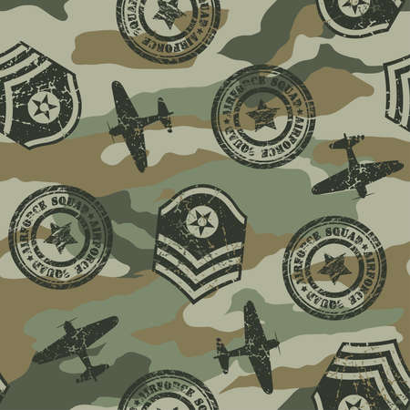 air force: Military badges seamless pattern   Illustration