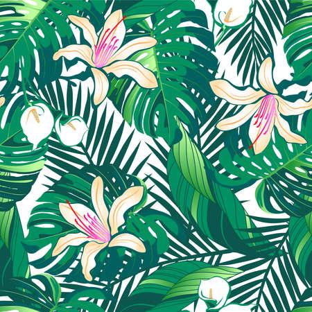 hibisco: Tropical exuberante flores sin patrón en un fondo blanco.