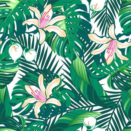 hibiscus: Tropical lush flowers seamless pattern on a white background.