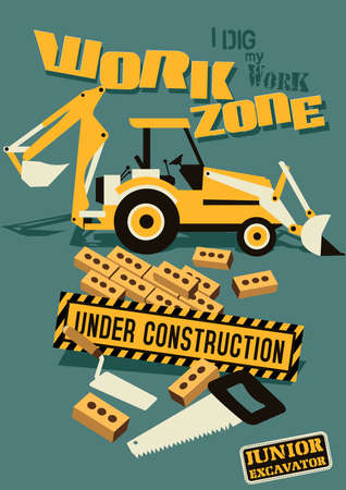 tractor sign: Work Zone under construction with badge embroidery. Illustration